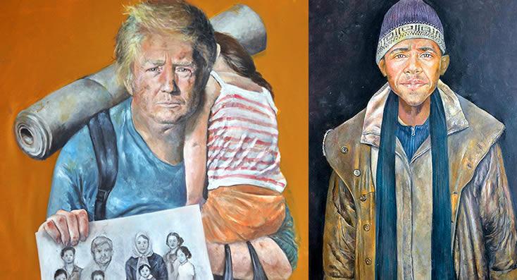 Artista sirio convierte a líderes mundiales en refugiados